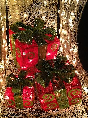 3pc Red Lighted Sisal Christmas Gift Boxes Presents Outdoor Christmas Decor