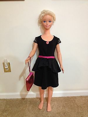 My Size Barbie Black Dress With Pink Trim And Matching Purse