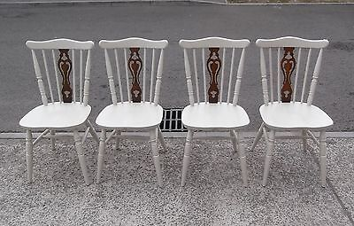 "Set Of 4 Spindle Back Chairs In F&b's ""old White""    Delivery Available"