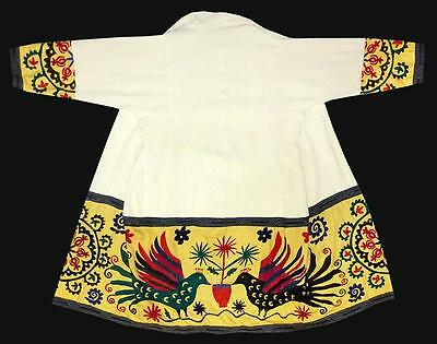 Vintage Old Gorgeous Uzbek Silk Hand Embroidered Robe Birds A9263