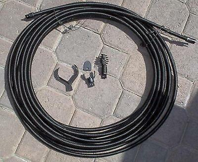 """1/2"""" SEWER SNAKE CABLE 50' W/ DRAIN BIT AUGER CUTTERS KINK FREE Inter Core Cable"""