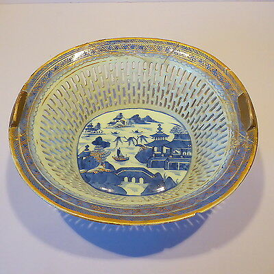 Antique Chinese Porcelain Reticulated Basket, Handpainted Enamel Border, A/F