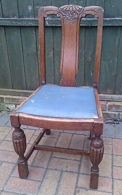 Antique Beautiful Carved Wooden Dining Chair Blue Seat Dark Brown. Can Deliver
