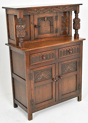 Mid C20th Antique Jacobean style Hall Court Cupboard Cabinet