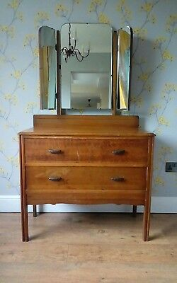 Vintage Dressing Table, Drawers, Tripple Mirror Shabby Chic Project