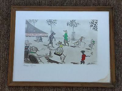 Boris O'Klein Framed & Signed Comical Dogs 'Champs Elysees' Picture