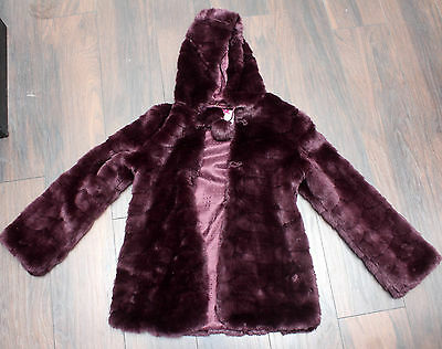 Marks & Spencers Gorgeous Girls Hooded Deep Purple Faux Fur Coat 13-14 Yrs Vgc