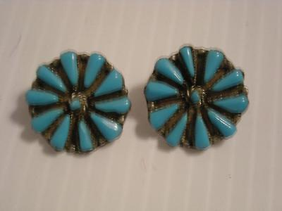 Extra Nice Vintage Zuni Indian Sterling Silver Turquoise Cluster  Earrings