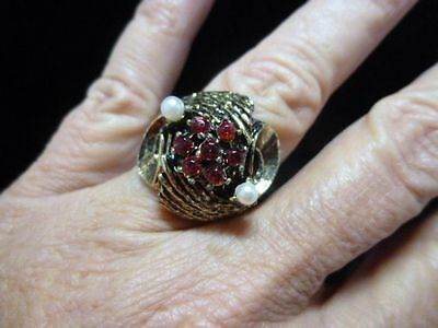 Vintage 1960's Antique Gold Tone Red Rhinestone & Faux Pearl Ring Adjustable
