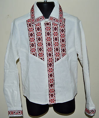 NEW Hand Made Vyshyvanka Traditional White formal Shirt for boy 5-6 years old