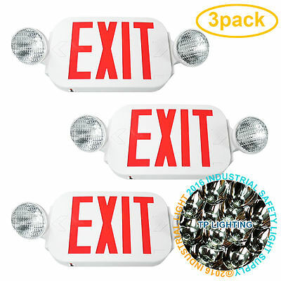 3pack LED Exit Sign & Emergency Light – High Output - RED Compact Combo UL New