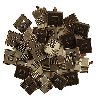 50 Decorative Brads - Square Antique Copper, Silver and Brass