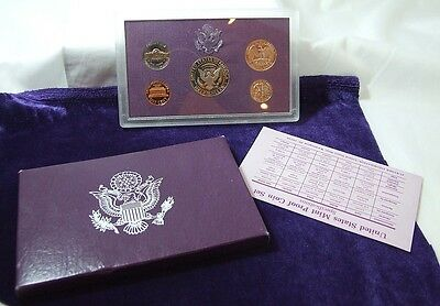 United States USA 1990 Proof Set 5 Coins San Francisco Mint With COA FDC