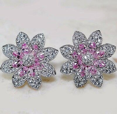 4CT Pink Sapphire & White Topaz 925 Solid Genuine Sterling Silver Earrings