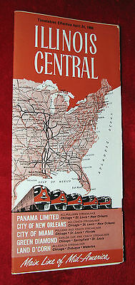 """Illinois Central """"Main Line of Mid-America"""" - Timetable Effective April 24, 1966"""