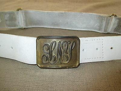 SNY Buckle (State Of New York) And White Buff Belt Officers Rig Late Civil War