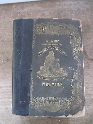 1842 SEARS New&Complete HISTORY OF THE BIBLE(Robert Sears) IN ONE VOLUME-Shabby
