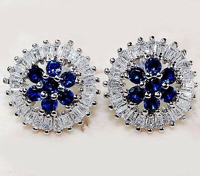 3CT Blue Sapphire & White Topaz 925 Solid Genuine Sterling Silver Earrings