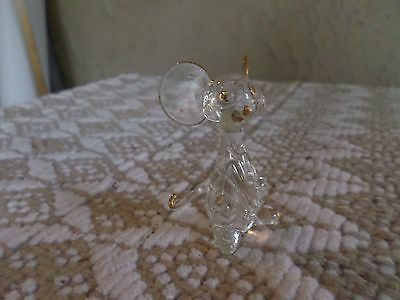 """Small Figurine Blown Glass  Mouse w/ Gold Accents 2 1/2"""" X 3"""""""