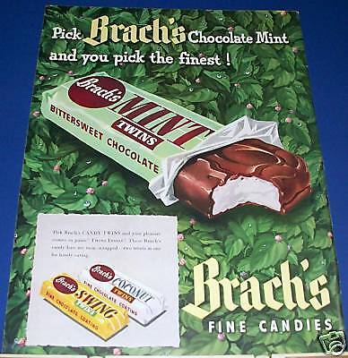 1948 Brach's Chocolate Mint Candy Twins Ad