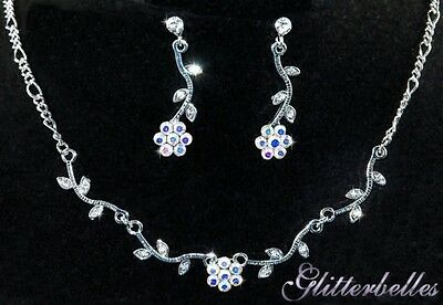 Bridal Bridesmaids Wedding Prom Silver AB Rainbow Crystal BUTTERCUP Necklace SET
