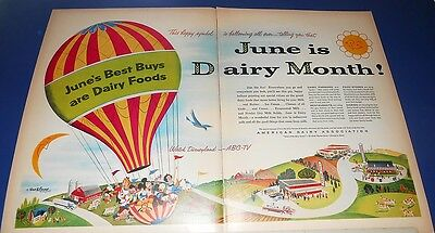 1955 American Dairy Ad ABC TV DISNEY characters in hotair balloon
