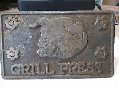 """Vintage Hometown Cast Iron Bacon/steak/grill Press 7  1/4"""" By 4 3/8"""" By 1/4"""""""