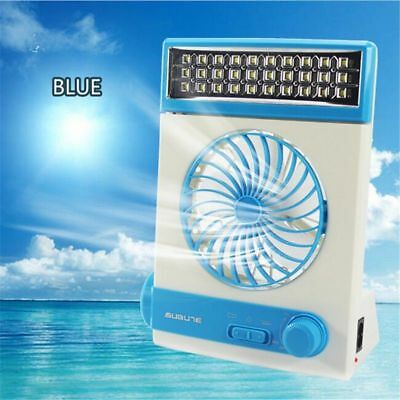 Rechargeable Solar Powered Vent Fan Ventilation W/ 5 Blade AC Charger for Spot