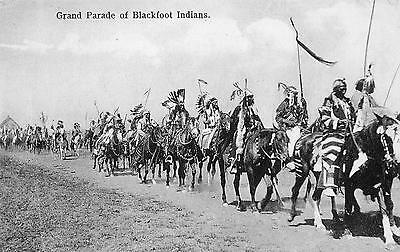 Antique 1907 Grand Parade of Blackfoot Indians in MT RPPC Real Photo Postcard