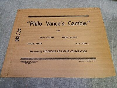 1947 Philo Vance's Gamble Sack or Bag for Press kit, or Photos or poster~RARE