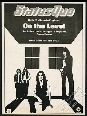 1975 Status Quo photo Down Down song On The Level album release print ad