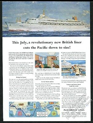 1961 P&O Lines SS Canberra ship color art & system route map vintage print ad