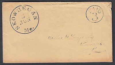 USA 1840's 'PAID 3' STAMPLESS COVER SKOWHECAN MAINE TO BRUNSWICK