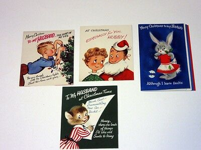 4 Lot Vtg 50's Christmas Card Humorous To My Husband Hallmark Rust Craft popup