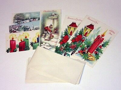 8 Unused Vtg 50's Christmas Carrington Card & Env Angel Town Candles Lamppost