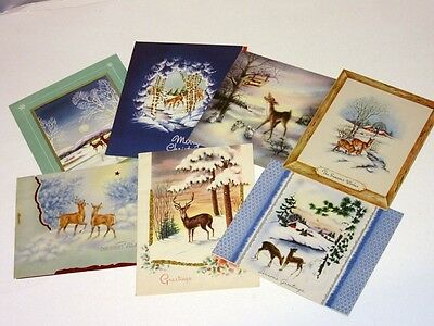 7 Vtg Mid Century 40's 50's Christmas Card all Deer in Woods Wallace Brown, foil