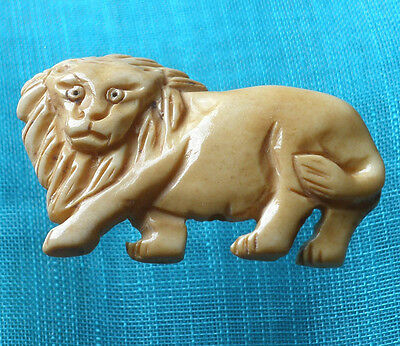 Cool Two Side Carved Tibet Yak Bone Walking King of Beast Lion AMULET with Cord