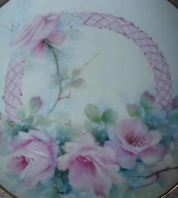 """Antique Romantic Hand Painted Porcelain 8"""" Plate Pink Roses Signed Vintage Gold"""