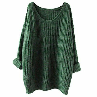 Womens Plus Size Long Cable Knit Pullover Sweater Chunky Tops 3XL Green