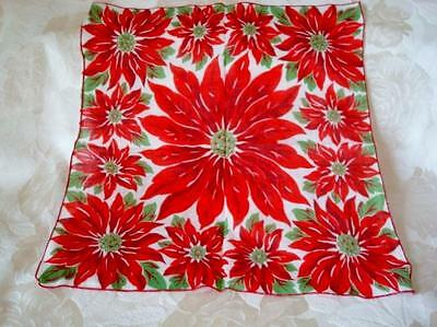 Vintage Christmas Holiday Hankie With Poinsettias Red Flowers