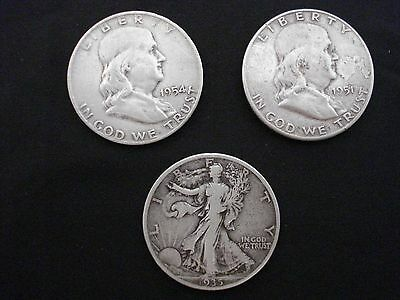 LOT OF 3 US SILVER HALF DOLLARS 1x1935, 1x1951 S, 1x1954 D COINS