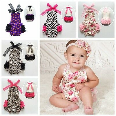 Newborn Baby Girl Lace Dress Halter Romper Jumpsuit Play Bloomer Outfit Sunsuits