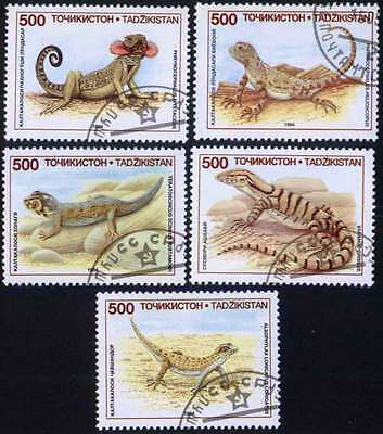 TAJIKISTAN (02/2) 1994 Reptiles Used 5 diff. Stamps ! Gift Your Children !