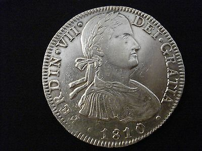 1810 Mexico Ferdinand Vii Spanish Colonial 8 Reales Large Silver Coin