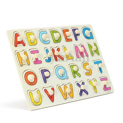 Wooden Alphabet A-Z Letter Jigsaw Puzzle Children Kids Learning Educational Toy