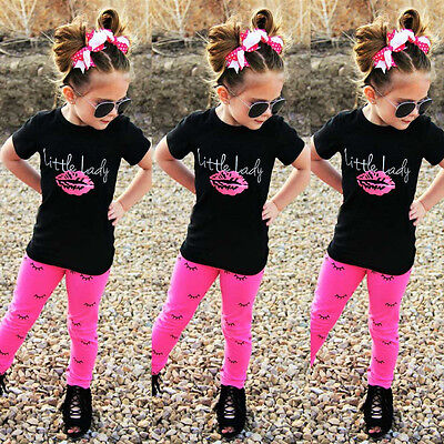 2PCS Girls Kids Little Lady Outfit Clothes T Shirt+Long Pants Set Tracksuit Set