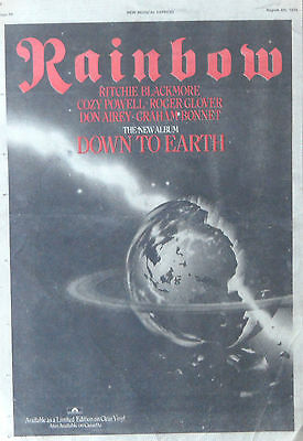 RAINBOW : Down To Earth -Poster Size NEWSPAPER ADVERT- 1979 28cm X 39cm