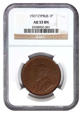 Cyprus 1 Piastre 1927 Ngc Au55 - Extremely Rare - Almost Uncirculated