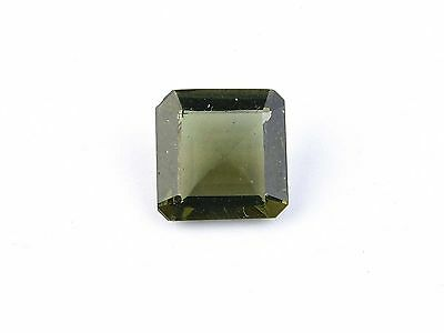 3cts square 10mm moldavite faceted cutted gem BRUS1505