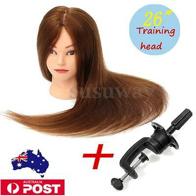 26'' 100% Real Human Hair Cosmetology Hairdressing Training Head Mannequin AU